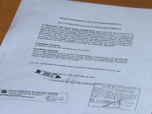 Requerimento de encerramento da Oli Comunicação apresentado pelo advogado (Foto: Reprodução / TV Globo)