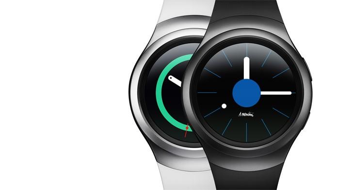 O Gear S2 terá duas opções de cores: com pulseira branca ou cinza (Divulgação/Samsung)