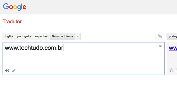Acesse o Google Tradutor e digite o site que você quer abrir (Foto: Reprodução/Helito Bijora)