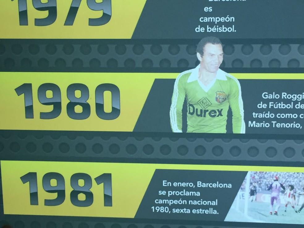 Manga ganha destaque na linha do tempo do museu do Barcelona de Guayaquil (Foto: Felippe Costa)