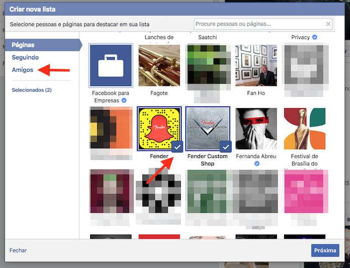 Seleção de páginas para compor uma lista de interesses em um perfil do Facebook (Foto: Reprodução/Marvin Costa)