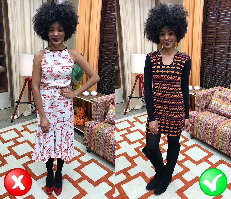 Looks com meia preta grossa (Foto: TV Globo)