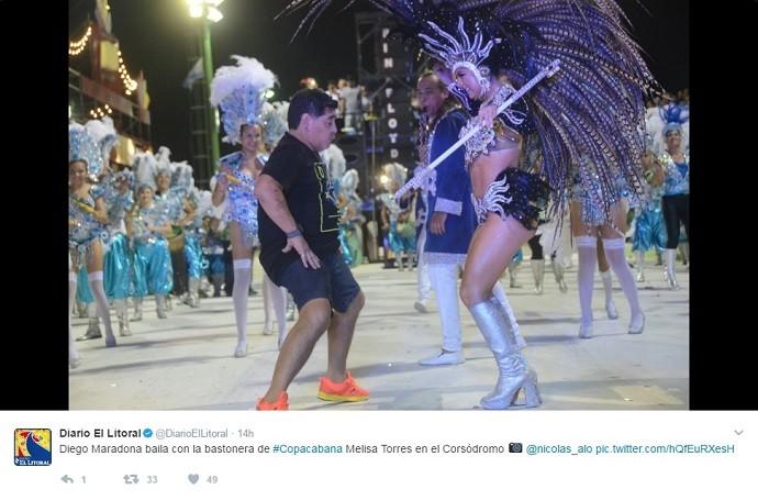 BLOG: Maradona curte carnaval argentino, reverencia passista e rebola na pista