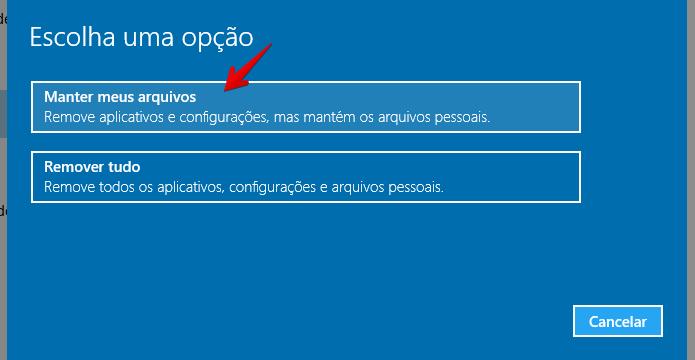 Selecione a opção indicada para manter os seus arquivos (Foto: Reprodução/Helito Bijora)