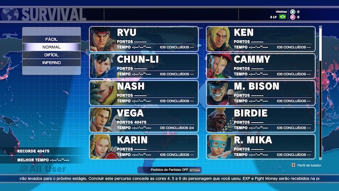 Street Fighter V: são quatro níveis de dificuldade no modo Survival (Foto: Reprodução/Victor Teixeira)