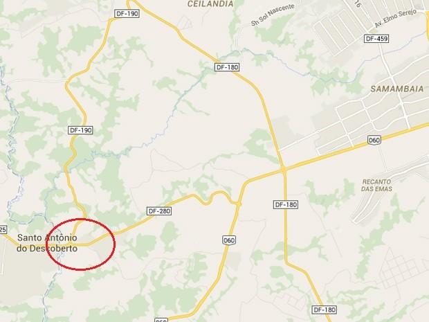 Menores de idade foram abordados em moto roubada na área destacada em vermelho (Foto: Google maps/Reprodução)