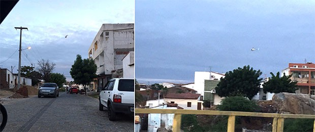 Helicóptero Potiguar 1 também participa da Operação Dominó, deflagrada na manhã desta quarta-feira (22) em Caicó  (Foto: Wllana Dantas/Wallanadantas.com.br)