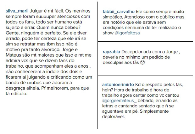 Fãs de Jorge e Mateus comentam apresentação (Foto: Reprodução/Instagram)