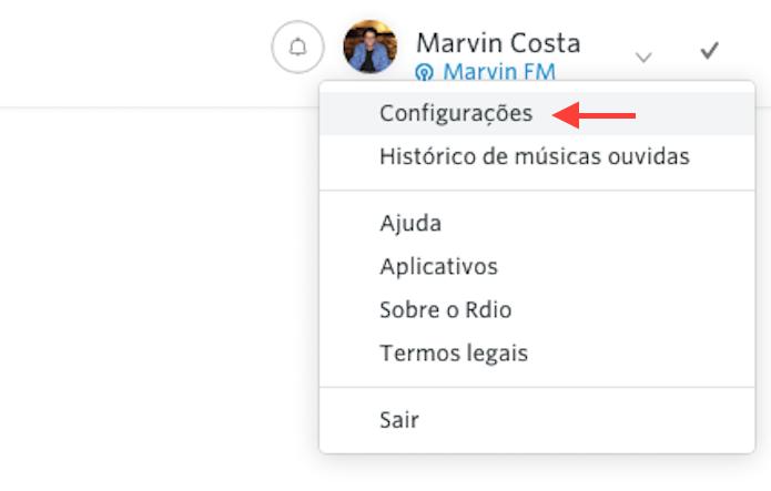 Acessando as configurações do Rdio na versão web do serviço (Foto: Reprodução/Marvin Costa)