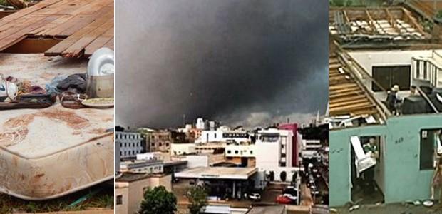 Tornado deixou rastro de destruição em Xanxerê (Foto: Reprodução/ Laion Espíndula/G1)