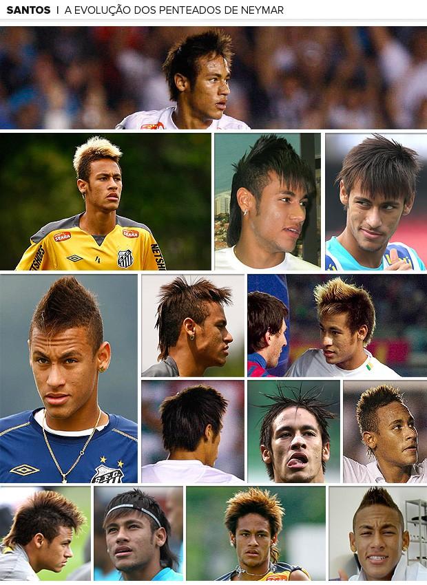 Galeria Neymar cabelo penteados Santos (Foto: Editoria de Arte / Globoesporte.com)
