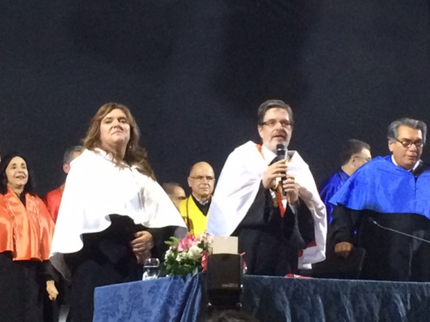 A vice-reitora e o reitor da UFRJ (Foto: Alba Valéria Mendonça/G1)