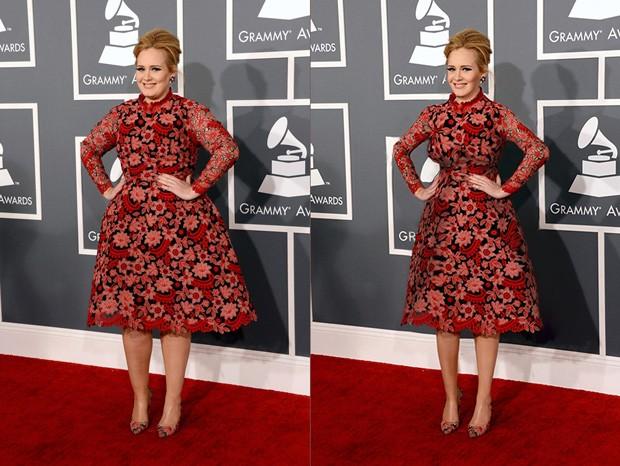 'Adele, se ela continuar fazendo dieta', diz a legenda da montagem feita por usuário de página 'Thinner Beauty'  (Foto: Reprodução/Reddit/lite_ciggy)