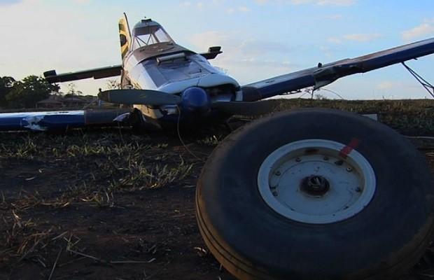 Avião monomotor faz pouso forçado às margens de BR-060, em Goiânia, Goiás (Foto: Reprodução / TV Anhanguera)