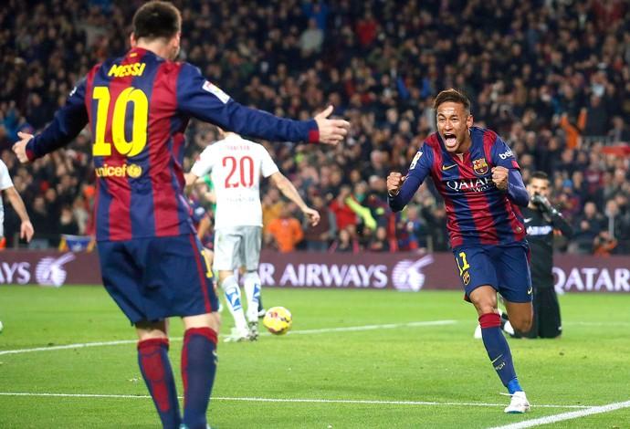 Neymar e Messi, Barcelona x Atlético de Madri (Foto: Reuters)