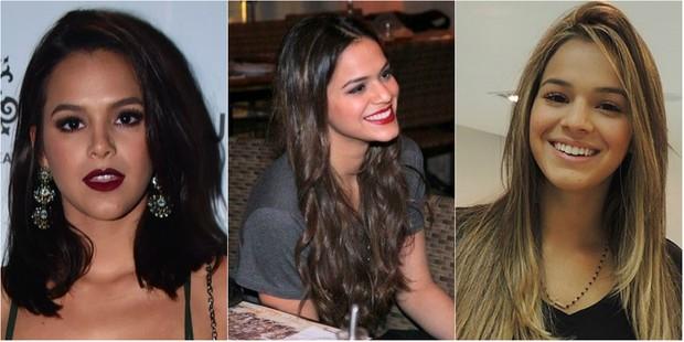 Bruna Marquezine em três fases diferentes: com cabelos curtos, longos e com mechas castanhas (Foto: Reprodução do Instagram)