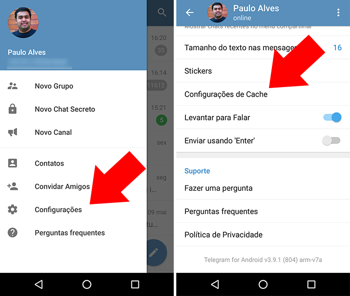 Configure o cache do Telehgram para Android (Foto: Reprodução/Paulo Alves)
