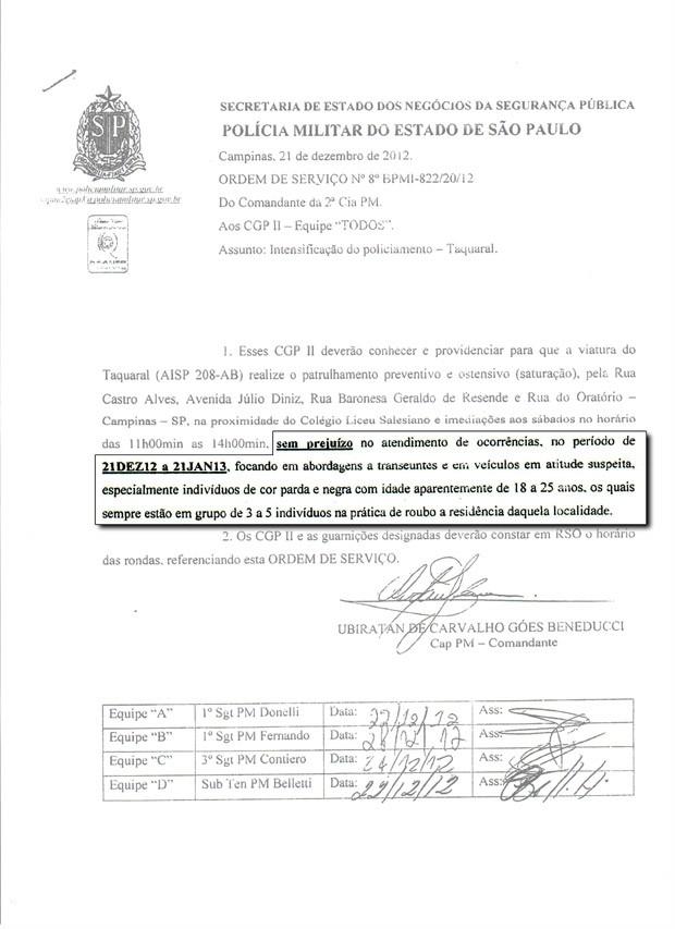Ordem de serviço enviada pela Polícia Militar em Campinas (Foto: Reprodução EPTV)