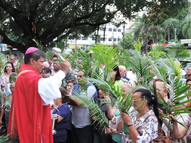 Galhos de palmeiras foram abençoadas pelo Bispo Dom Benedito Gonçalves (Foto: Carolina Mescoloti/G1)
