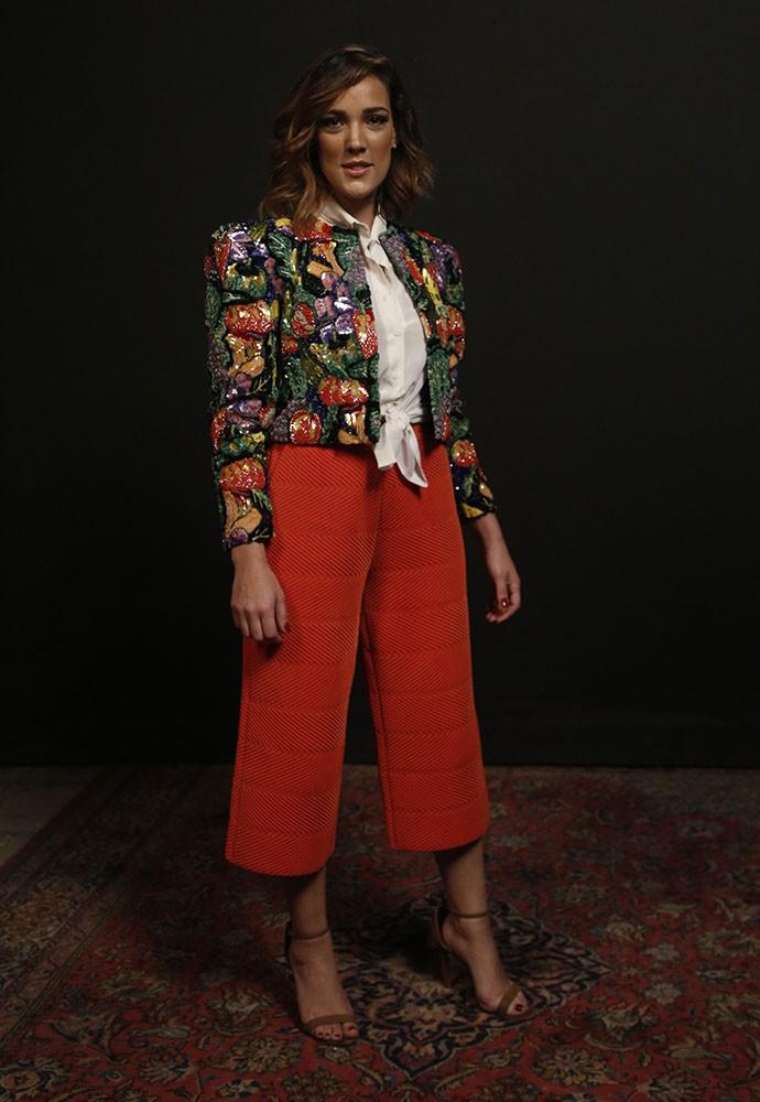 Adriana Birolli investiu na pantalona cropped (Foto: Raphael Dias/Gshow)