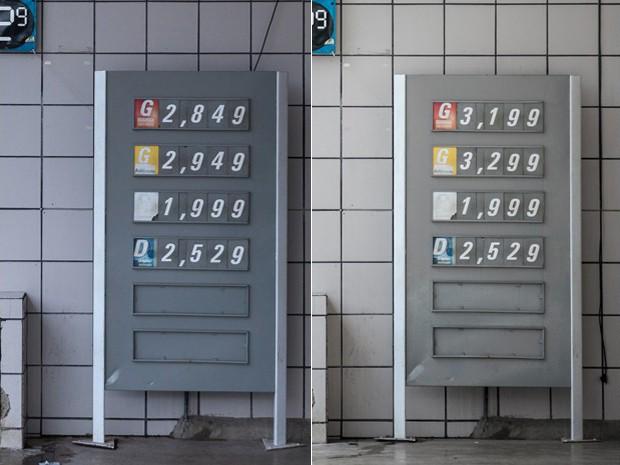 Em posto na Avenida Morumbi, na Zona Sul, preço aumentou R$ 0,35 por litro. A foto à esquerda foi tirada na sexta-feira (30) e a da direita, nesta segunda (2) (Foto: Marcelo Brandt / G1)