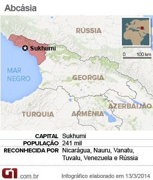 mapa abcásia (Foto: Arte/G1)