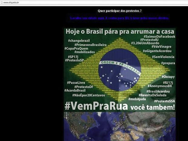 Bandeira do Brasil é cercada por hashtags alusivas aos protestos que acontecem em todo o Brasil (Foto: Reprodução/UFCG)