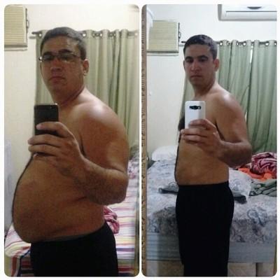 O ANTES e DEPOIS de treinos; mudança, atitude e determinação, foram quase 30 quilos (Foto: Imagem/Divulgação)