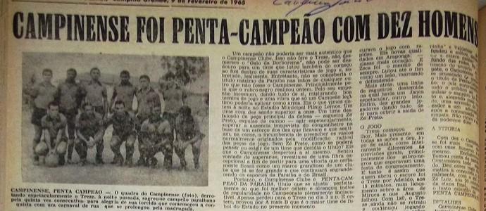 campinense 100 anos, Campinense, campeão de 1964 (Foto: Acervo / Diário da Borborema)