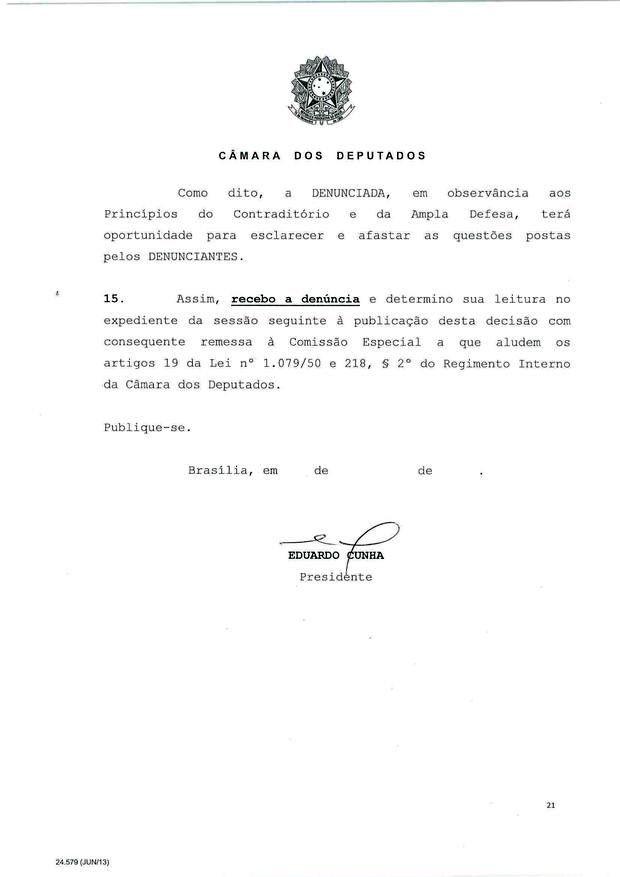 21 - Leia íntegra da decisão de Cunha que abriu processo de impeachment (Foto: Reprodução)