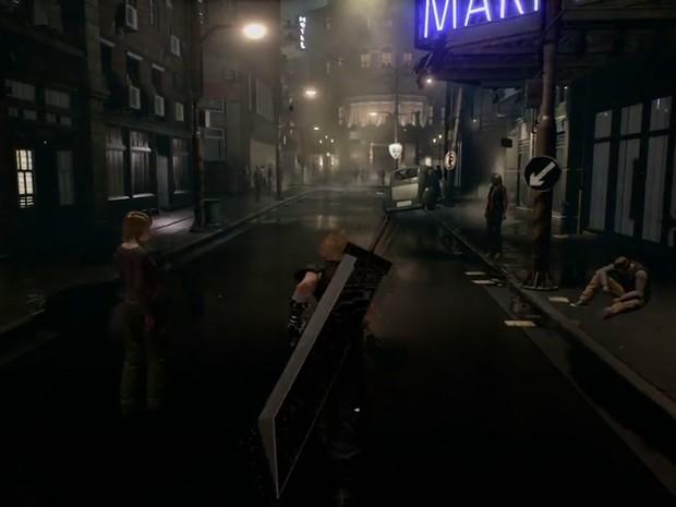 Cloud Strife dá um volta por Midgar em cena do remake de 'Final Fantasy VII' (Foto: Reprodução/Square Enix)
