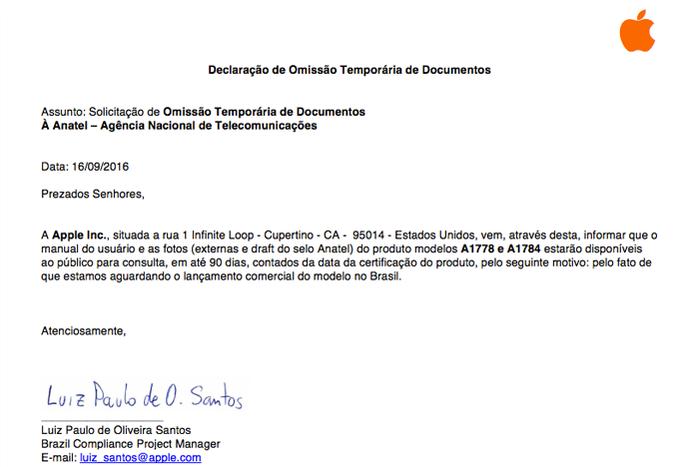 Declaração de omissão temporária dos documentos do iPhone 7 no site da Anatel (Foto: Reprodução/Luciana Maline)