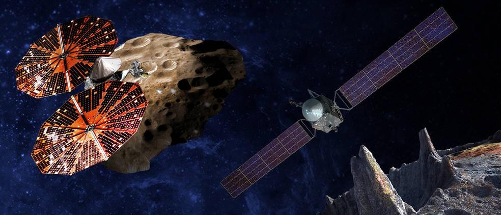 Concepção artística da nave espacial Lucy à esquerda; Psique à direita (Foto: SwRI e SSL/Peter Rubin/Nasa)