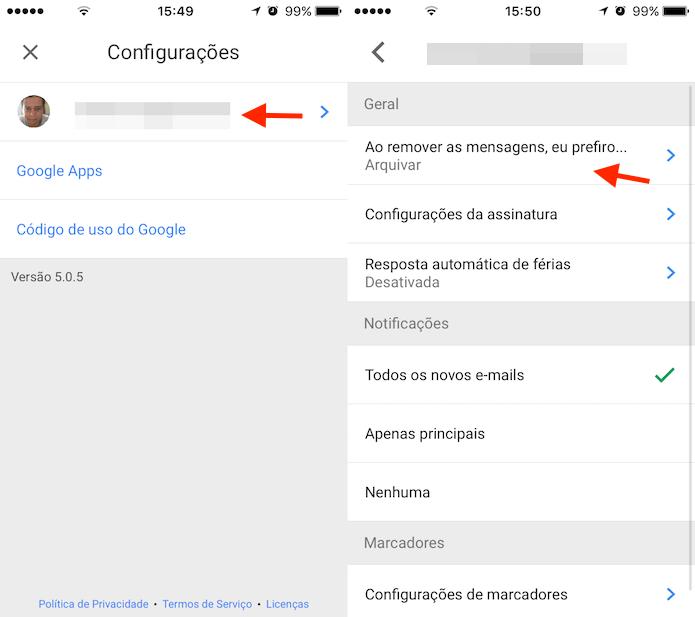 Caminho para acessar as configurações de deslizar com os dedos do Gmail para iPhone (Foto: Reprodução/Marvin Costa)