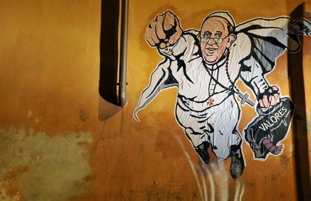 Imagem do grafite feito por Maupal nas ruas de Roma (Foto: Tiziana Fabi/AFP)