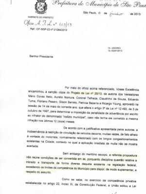 Ofício mostra razões de veto de projeto que previa troca da multa de rodízio por adevertência (Foto: Reprodução)