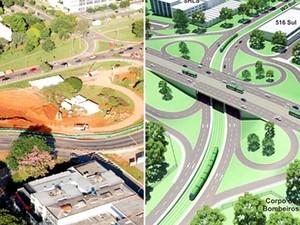 Obras do VLT na Asa Sul em Brasília (esquerda) e previsão de projeto pronto (direita) (Foto: GDF/Divulgação)