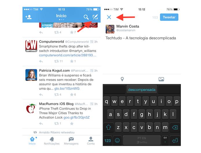 Definindo um tuíte que será salvo em rascunho no Twitter para iOS (Foto: Reprodução/Marvin Costa)