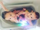 Luana Piovani mostra banho dos filhos gêmeos em banheira