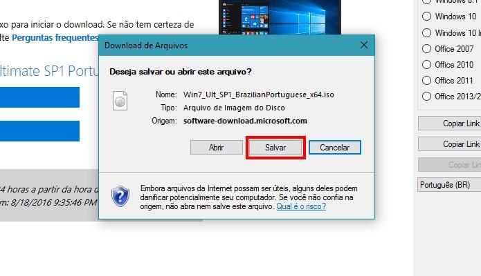 Salve o ISO no seu PC (Foto: Reprodução/Paulo Alves)