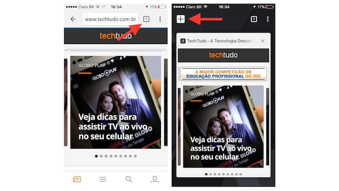 Abrindo uma nova guia no Google Chrome para iPhone (Foto: Reprodução/Marvin Costa)