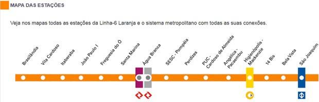 Estações previstas para a Linha 6-Laranja do Metrô de São Paulo (Foto: Reprodução/Move São Paulo)