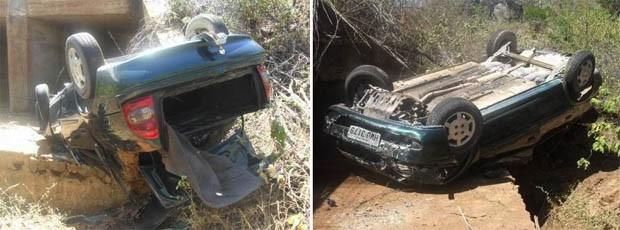 Carro ficou completamente destruído (Foto: Jaime Júnior / Soldado da PM)