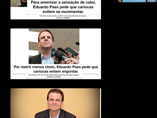 Página na internet ironiza prefeito Eduardo Paes (Foto: Reprodução/ Tumblr/ Evitem o Rio)