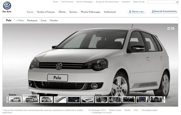 Polo não pode ser configurado no site da Volkswagen (Foto: Reprodução)