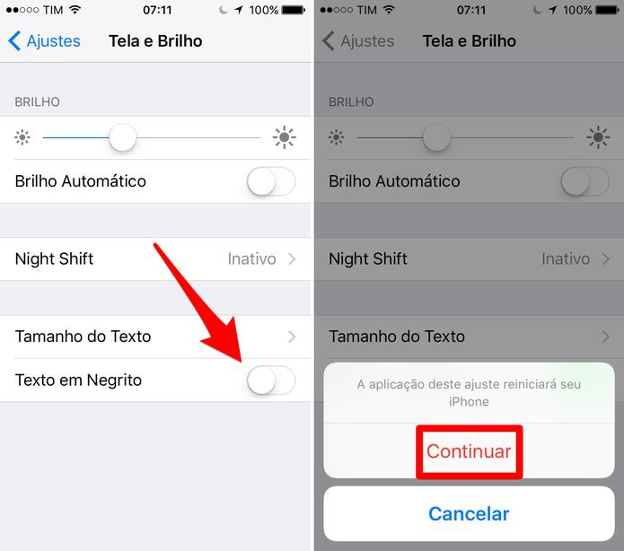 Ative a função negrito do iPhone (Foto: Reprodução/Lucas Mendes)