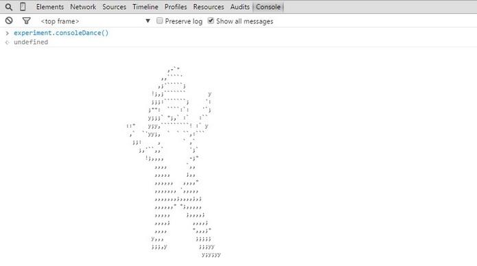 Tubarão dançarino em ASCII escondido na página do Google IO 2015 (Foto: Reprodução/ Raquel Freire)