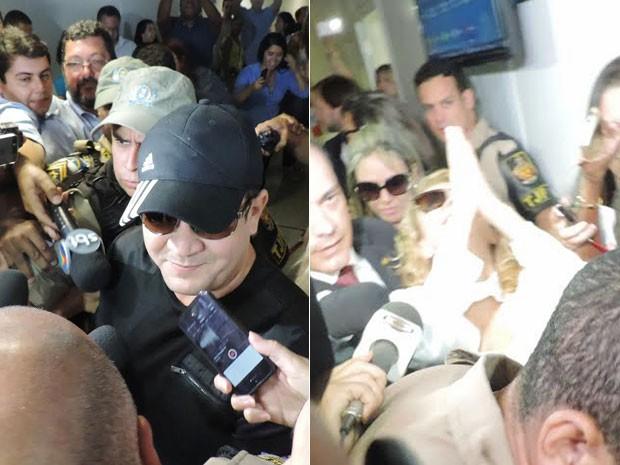Na saída do Fórum no Recife, Chimbinha desejou sorte à ex e Joelma fez gesto de agradecimento a Deus (Foto: Katherine Coutinho/G1)