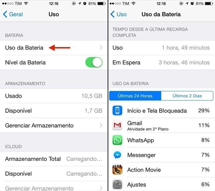 Veja o que está gastando sua bateria no iOS 8 (Reprodução/ Helito Bijora)