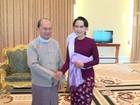Suu Kyi e presidente de Mianmar se reúnem para preparar transição